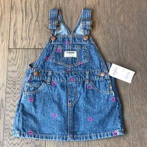 NEW Oshkosh Overalls Dress with hearts